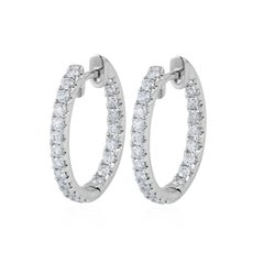 0.96 Carat Total Round Diamond Hoop Earrings