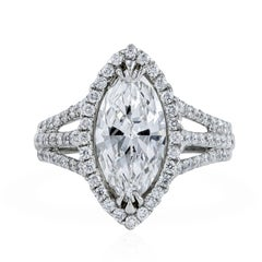 GIA Certified 2.15 Carat Marquise Cut Diamond Halo Engagement Ring