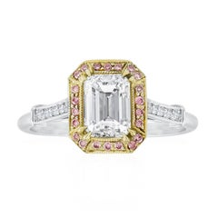 GIA Certified Emerald Cut Diamond Halo Engagement Ring