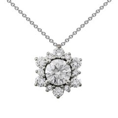 Diamond Cluster Starburst Pendant Necklace
