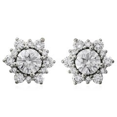 Round Diamond Cluster Starburst Earrings