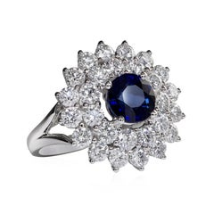 Blue Sapphire and Diamond Starburst Cocktail Ring