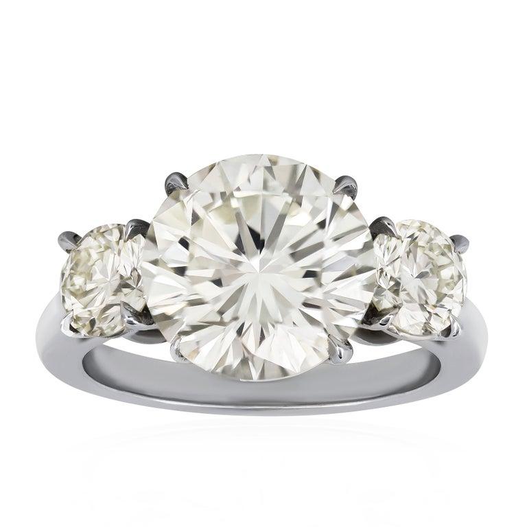 5.53 Carat Round Diamond Three-Stone Engagement Ring
