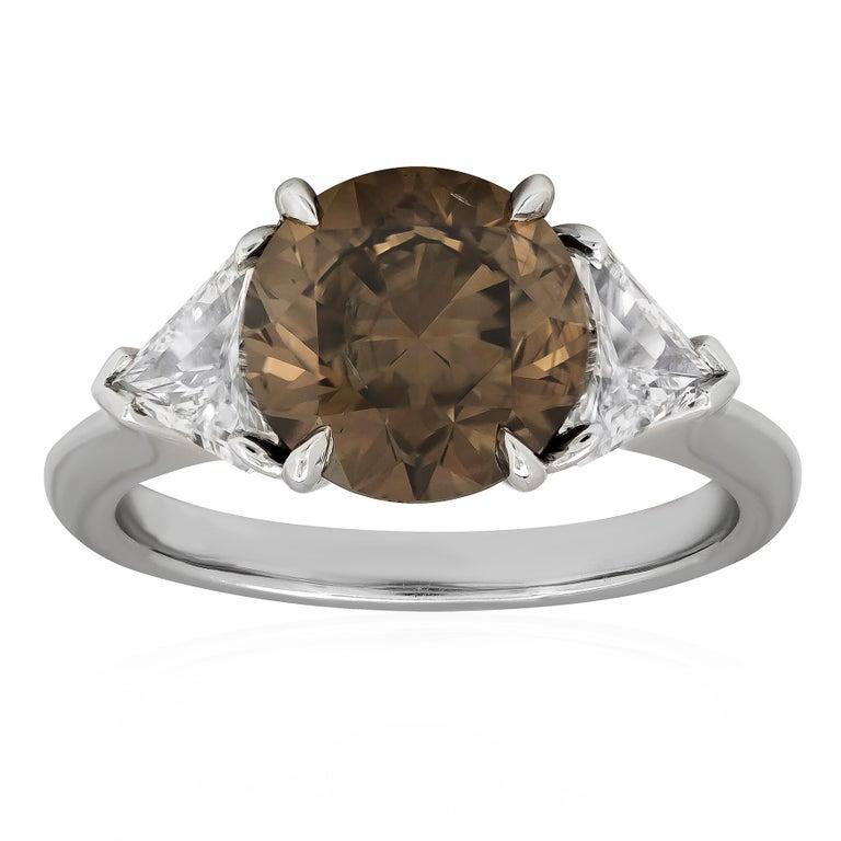 GIA Certified 3.04 Carat Brown Diamond Three-Stone Engagement Ring
