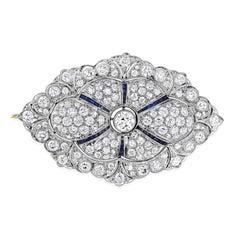 8.00 Carat Round Diamond and Sapphire Brooch