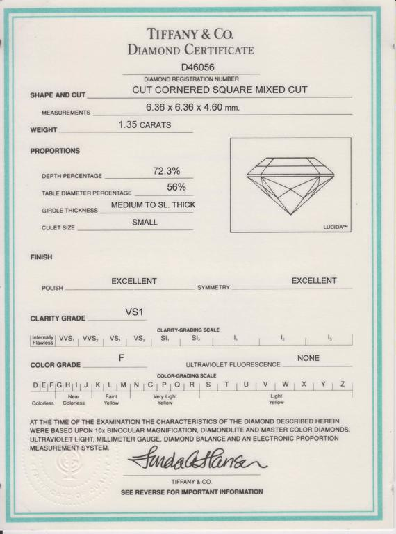 Women's or Men's Tiffany & Co. 1.35 Carat GIA Certified F, VS1 Lucida Diamond Cut Ring For Sale