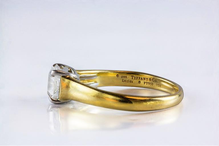 Princess Cut Tiffany & Co. 1.35 Carat GIA Certified F, VS1 Lucida Diamond Cut Ring For Sale