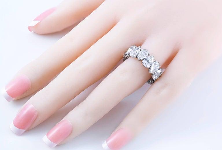 Pear Cut Roman Malakov 10.17 Carat Pear-Shape Diamond Platinum Eternity Wedding Band For Sale