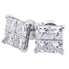 8.17 Carat Diamond White Gold Cluster Earrings