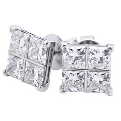 8.17 Carat Diamond White Gold Cluster Earrings