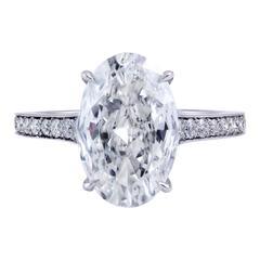 3.10 Carat GIA Certified Oval Cut Diamond Platinum Engagement Ring
