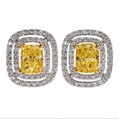 GIA Certified Fancy Yellow Diamond Halo Stud Earrings