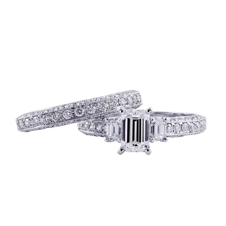 Three-Stone Emerald Cut Diamond Engagement Ring and Wedding Band Set