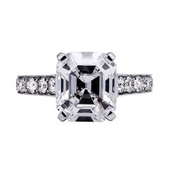 3.59 Carat HRD Certified Asscher Cut Diamond Platinum Engagement Ring