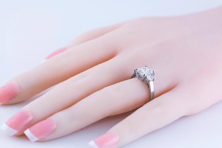 Princess Cut 2.01 Carat GIA Certified Diamond Platinum Three Stone Engagement Ring For Sale