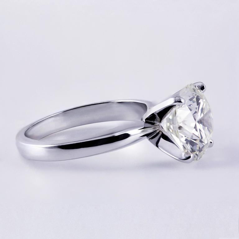 3.68 Carat GIA Certified Diamond White Gold Solitaire Engagement Ring 2