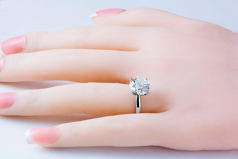 3.68 Carat GIA Certified Diamond White Gold Solitaire Engagement Ring 3