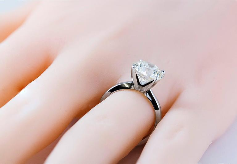 3.68 Carat GIA Certified Diamond White Gold Solitaire Engagement Ring 4