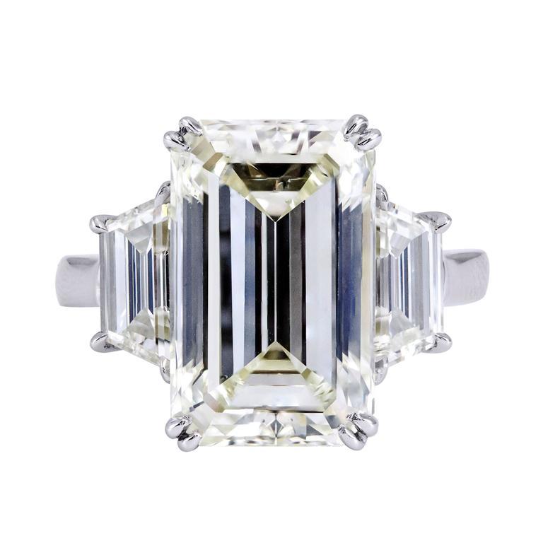 8.96 Carat Emerald Cut Diamond Three-Stone Engagement Ring