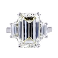 8.96 Carat Emerald Cut Diamond Three-Stone Engagement Ring