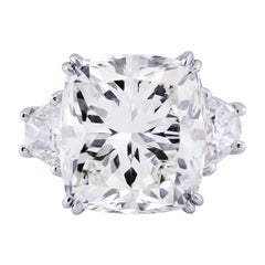 Important 17.18 Carat GIA Certified Cushion Cut Diamond Three-Stone Ring