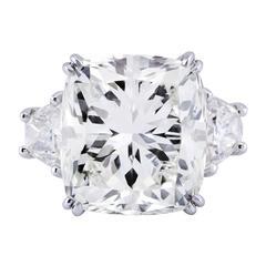Important 17.18 Carat Cushion Cut Diamond Three-Stone Engagement Ring