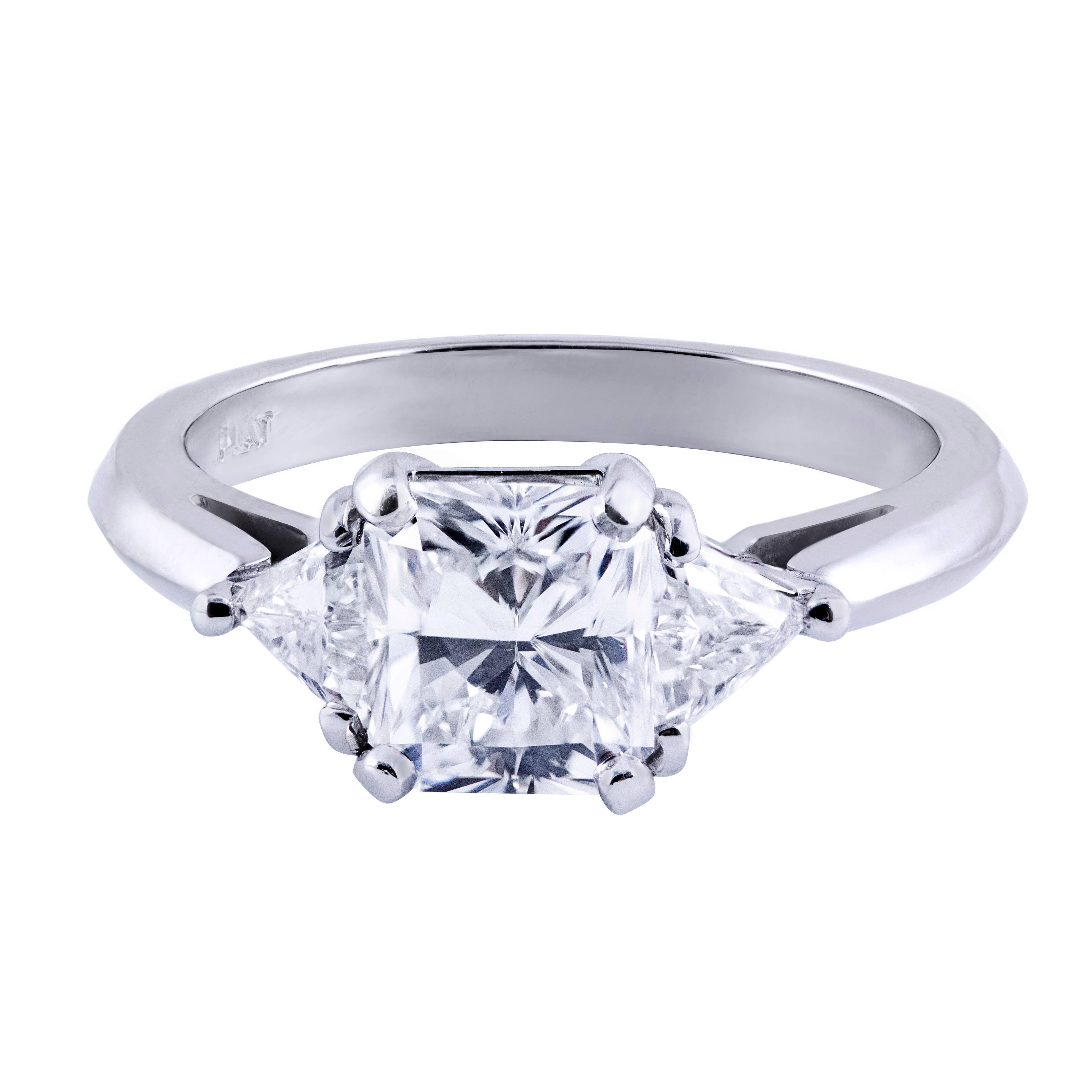 GIA Certified Radiant Cut Diamond Three-Stone Engagement Ring