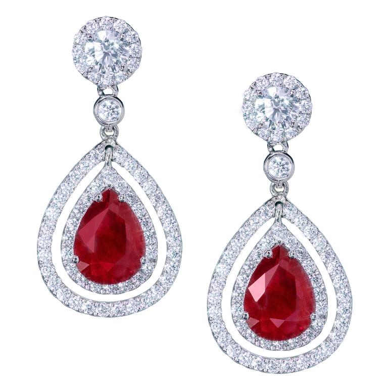Pear Shape Ruby And Diamond Double Halo Dangle Earrings For