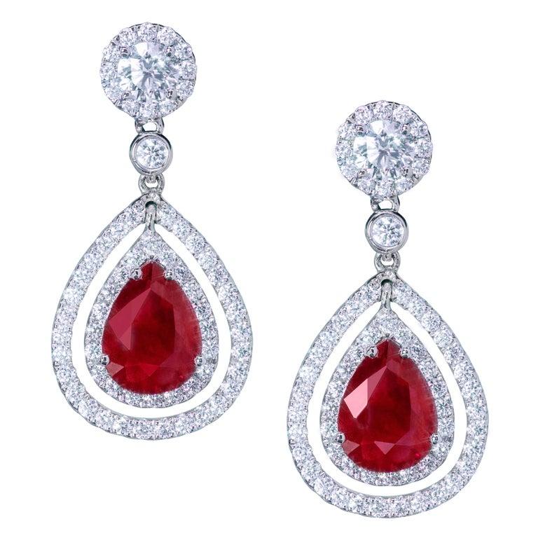Pear Shape Ruby and Diamond Double Halo Dangle Earrings