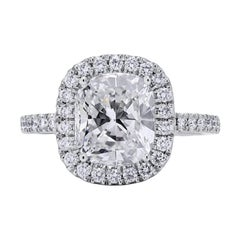 Roman Malakov, GIA Certified Cushion Cut Diamond Halo Engagement Ring