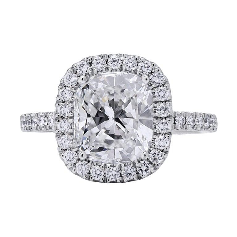 GIA Certified Cushion Cut Diamond Halo Engagement Ring