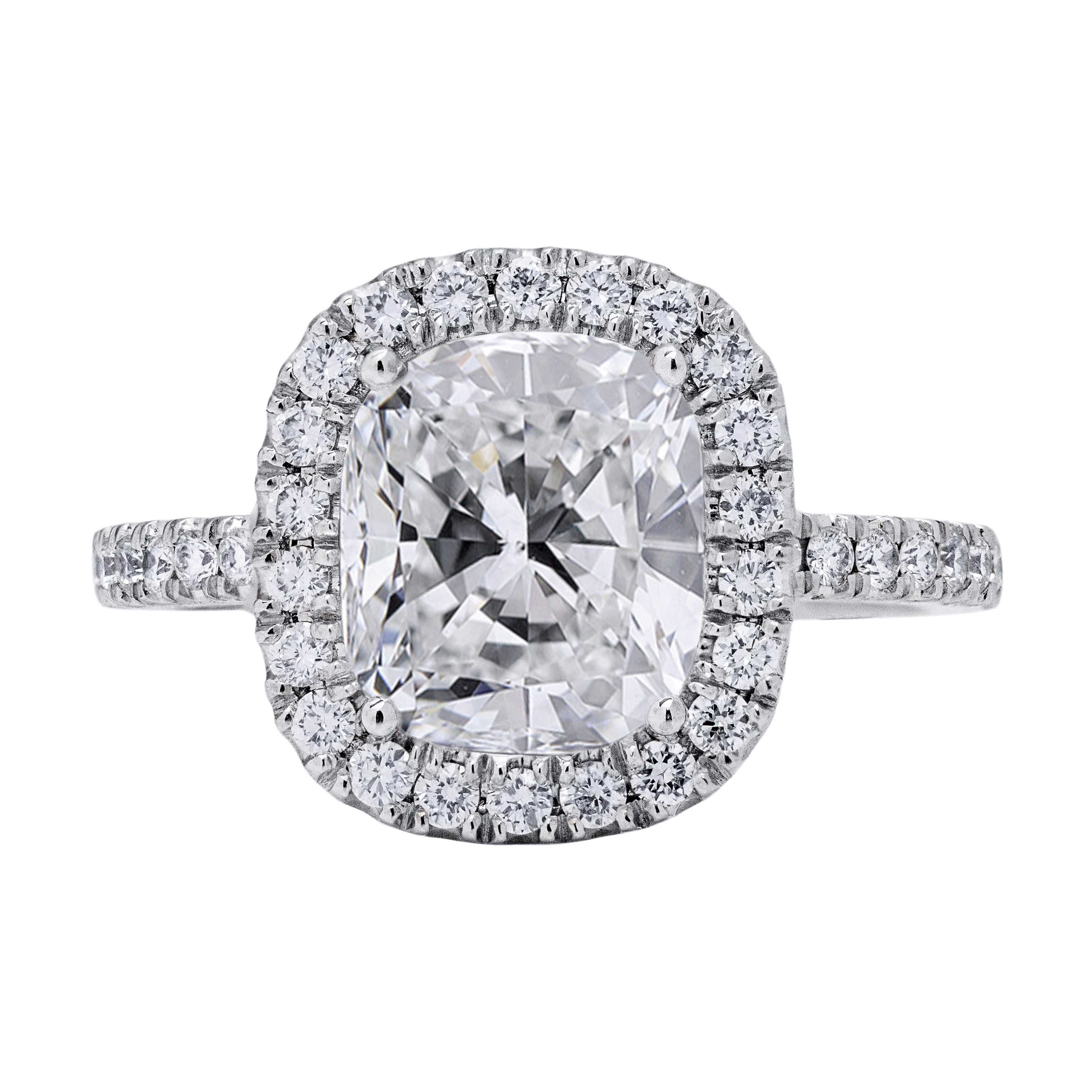 Roman Malakov, GIA Certified Cushion Cut Diamond Halo Engagement Ring