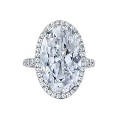 GIA Certified Oval Cut Diamond Halo Engagement Ring