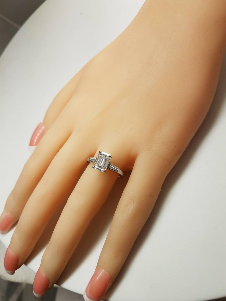 Modern GIA Certified 1.77 Emerald Cut Diamond Engagement Ring For Sale