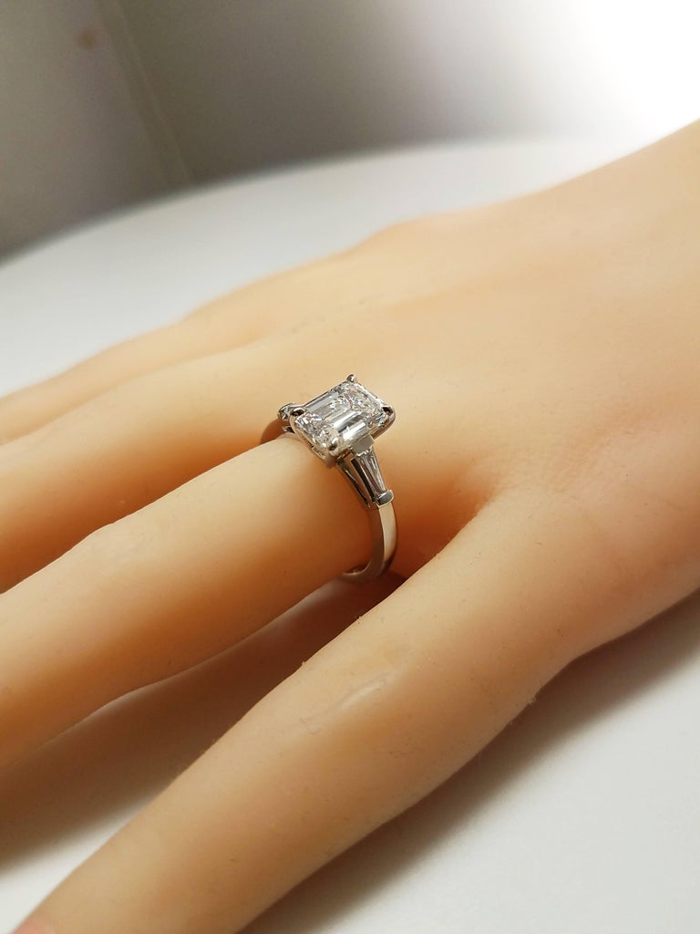 GIA Certified 1.77 Emerald Cut Diamond Engagement Ring In New Condition For Sale In New York, NY