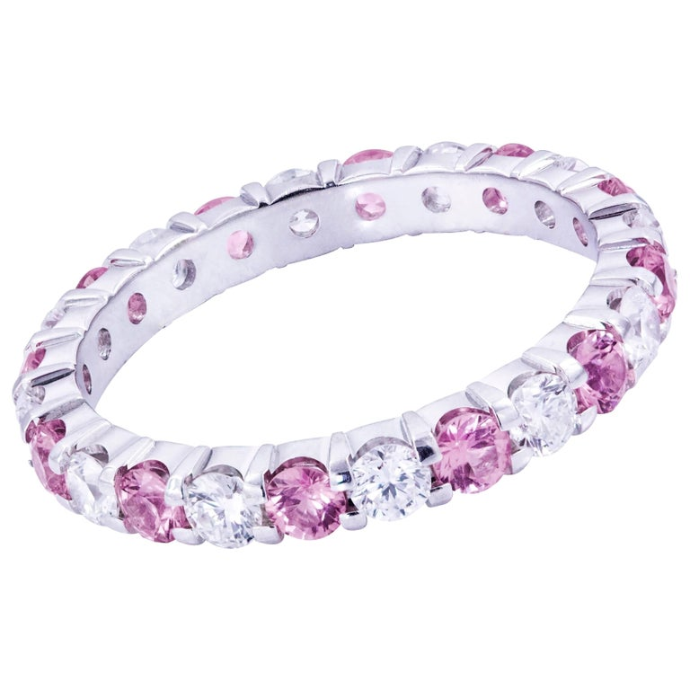 Natural Pink Sapphire and Diamond Gold Eternity Wedding Band Ring