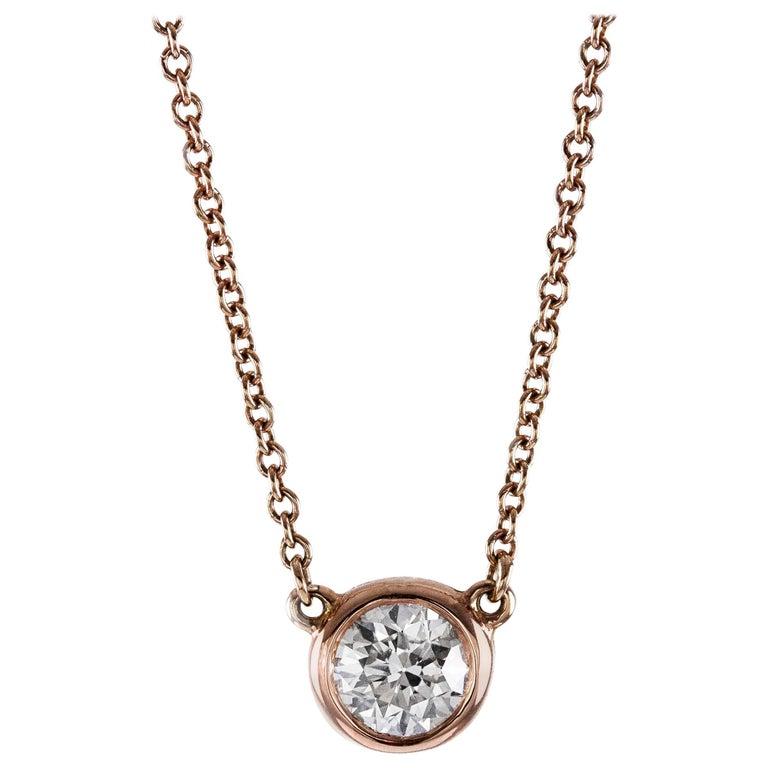 Round Brilliant Diamond in Rose Gold Solitaire Pendant Necklace