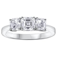 Asscher Cut Diamond Three-Stone Engagement Ring