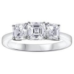 Asscher Cut Diamond Three-Stone Engagement Ring