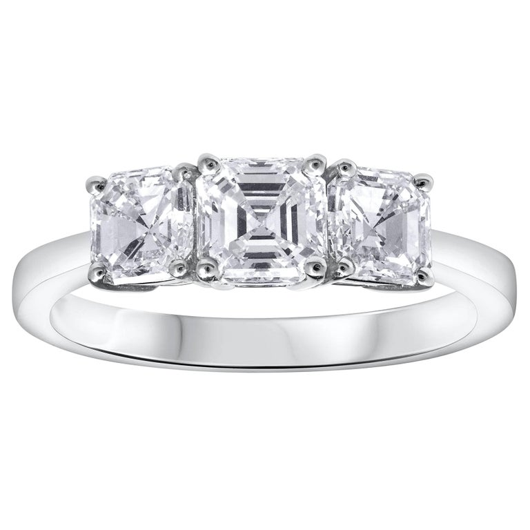 Asscher Cut Diamond Three-Stone Engagement Ring For Sale
