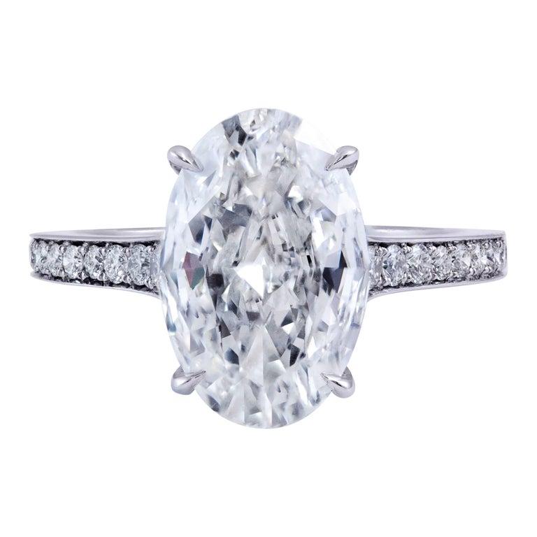Roman Malakov 3 Carat GIA Certified Oval Cut Diamond Platinum Engagement Ring For Sale
