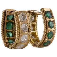 Emerald Diamond Gold Huggie Reversible Hoop Earrings
