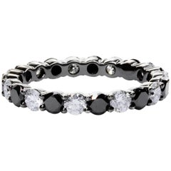Alternating Black and White Diamond Eternity Wedding Band
