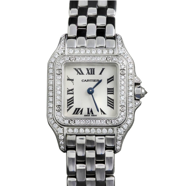 Cartier Ladies White Gold Diamond Panthere Quartz Wristwatch Ref 1660