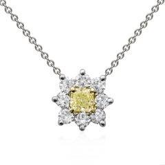 Fancy Yellow Radiant Cut Diamond Starburst Pendant Necklace