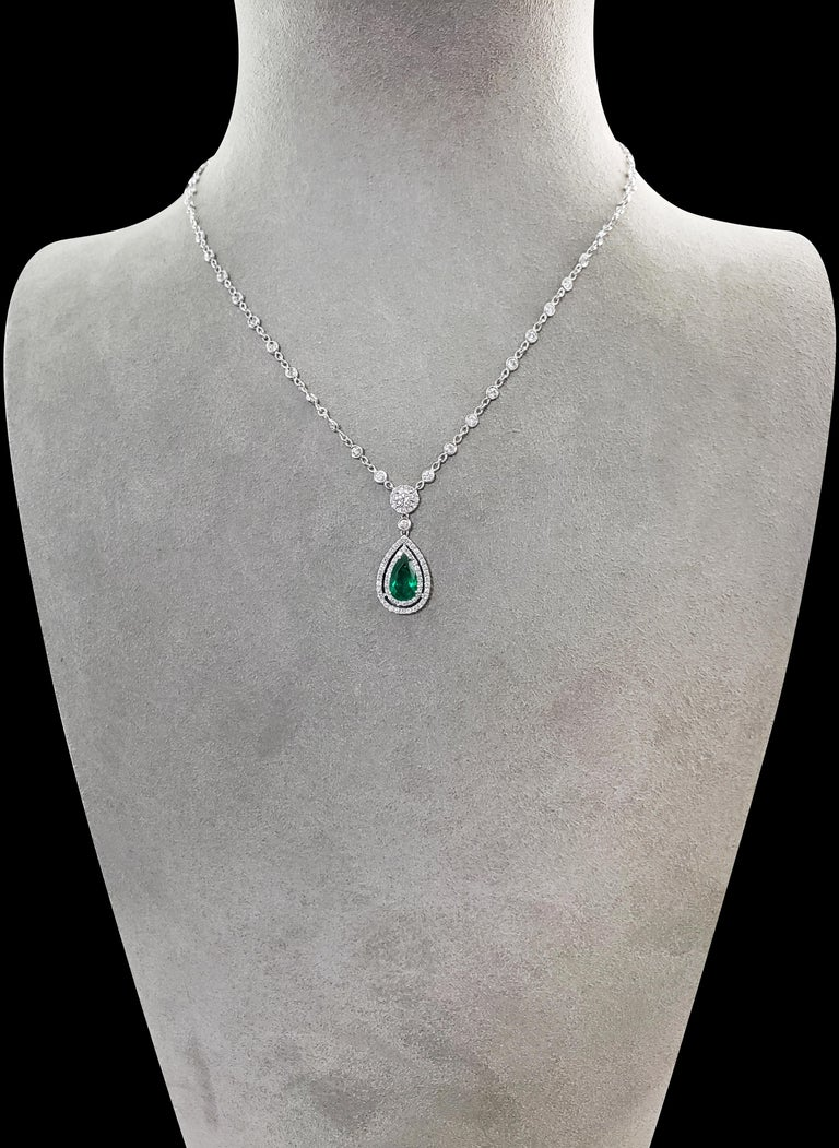 Pear Cut Green Emerald and Diamond Double Halo Drop Necklace For Sale