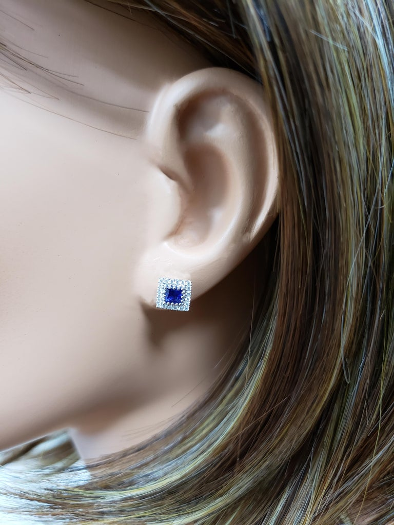 Blue Sapphire and Diamond Halo Stud Earrings In New Condition For Sale In New York, NY
