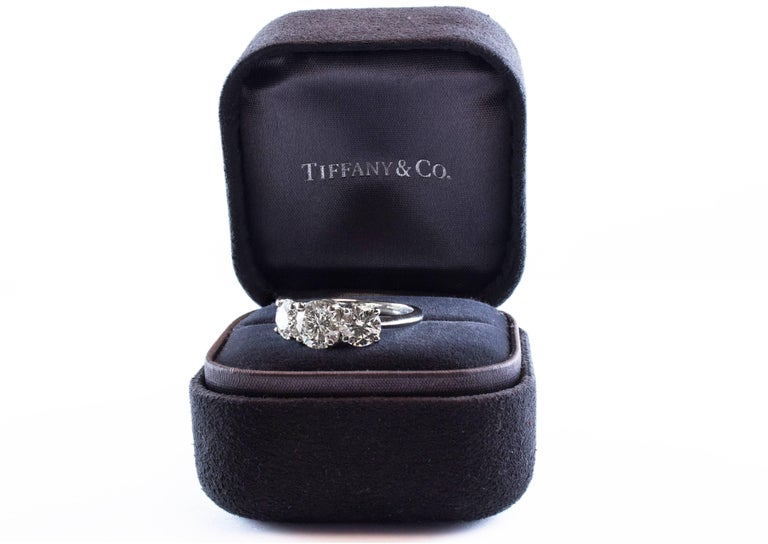 Round Cut Tiffany & Co. Three-Stone Diamond GIA Certified Platinum Engagement Ring For Sale
