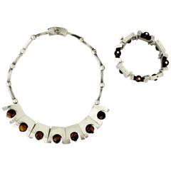 Rare Antonio Pineda Tiger's Eye .970 Silver Necklace and Bracelet