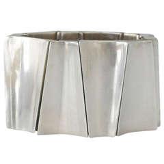 Incredible Antonio Pineda .970 Silver Modernist Wide Bracelet